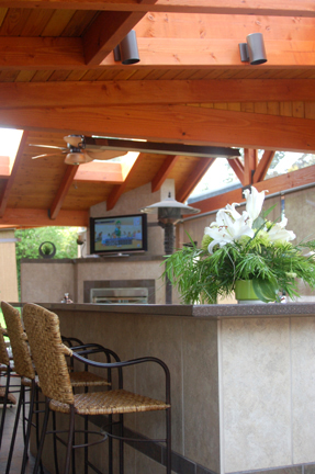 Complete - Outdoor Kitchen Seating Bar Looking Across the Space