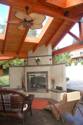 Complete - The Outdoor Fireplace, Seating Area, Skylights and Paddle Fan. Ready to Relax!
