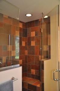 Glass shower door & bench