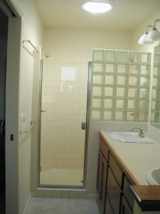 Shower glass block partial wall