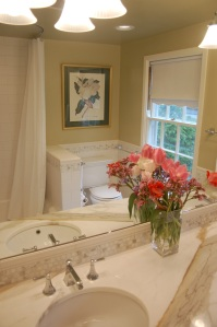 Countertop and tile shown in mirror
