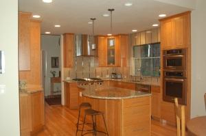 natural wood cabinets & flooring