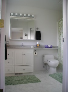 Low profile toilet with narrowed countertop extension