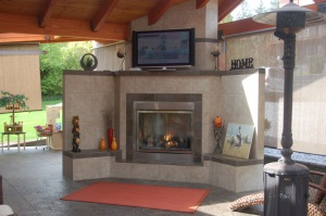 Spectacular outdoor kitchen with fireplace