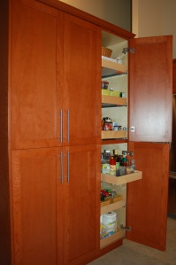 Full height cabinets with pull out drawers.