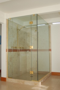 Beautiful glass walled corner shower
