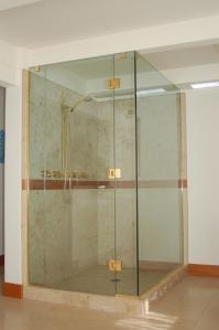 Beautiful glass walled corner shower