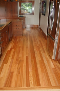 Pearwood flooring installed in kitchen remodel
