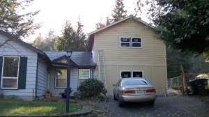 Repurposed garage for family room.